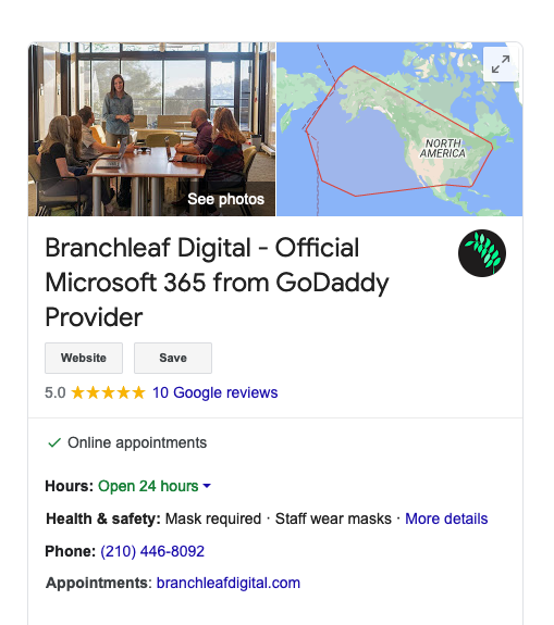 example of google business listing