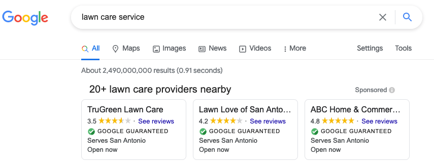 google local services ads example