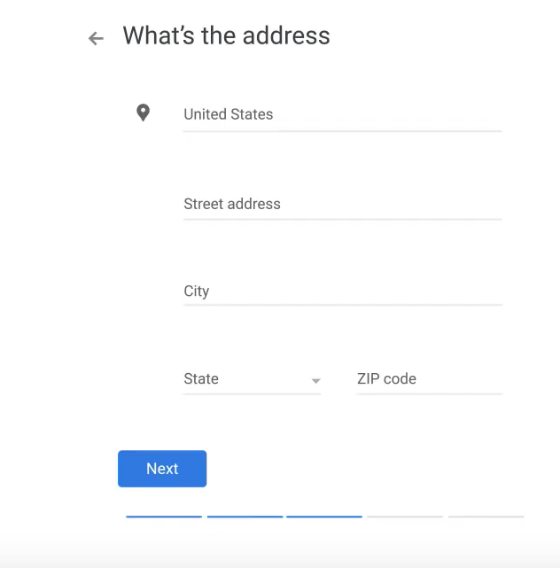 google my business add address