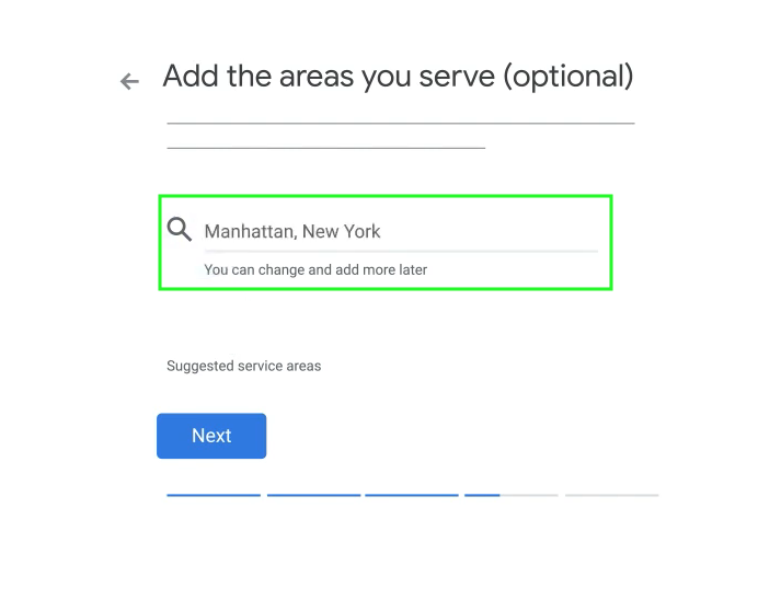 google my business add areas served
