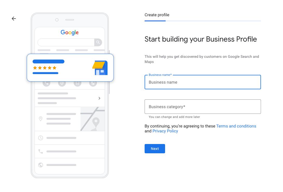 google my business create business profile