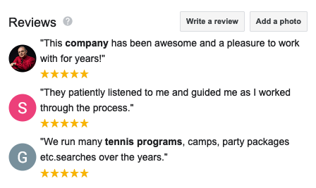 example of google reviews